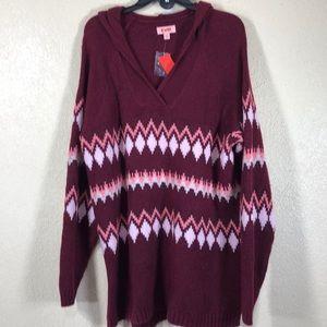 EVRI Sweater w/Hoodie Burgundy Red Wine NWT 1X